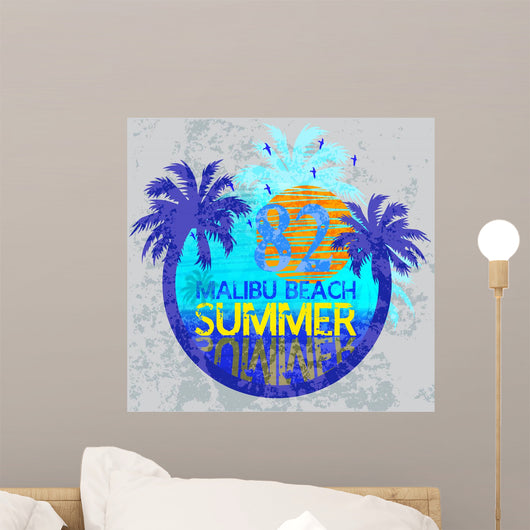 Summer Surf Typography T-shirt Wall Decal