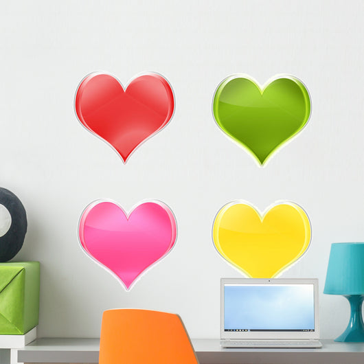 Assortment Hearts Colors Wall Decal