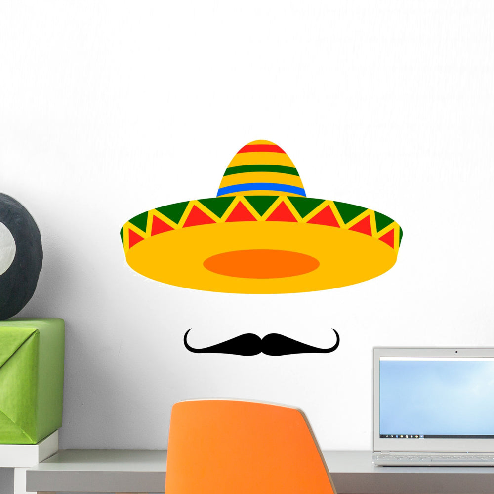 Mexican sombrero mustache wall decal