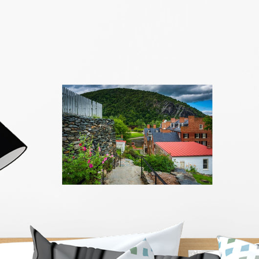 Flowers along Path and Buildings Wall Decal