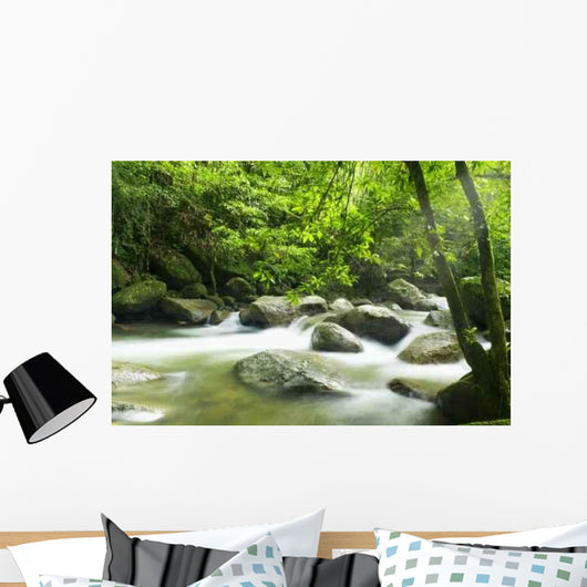 Mountain River with Sunbeam Wall Decal