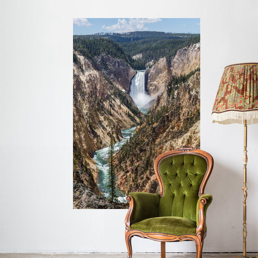 The Grand Canyon of the Yellowstone and Lower Falls from the viewpoint of Artist Point. Yellowstone National Park, Wyoming Wall Mural