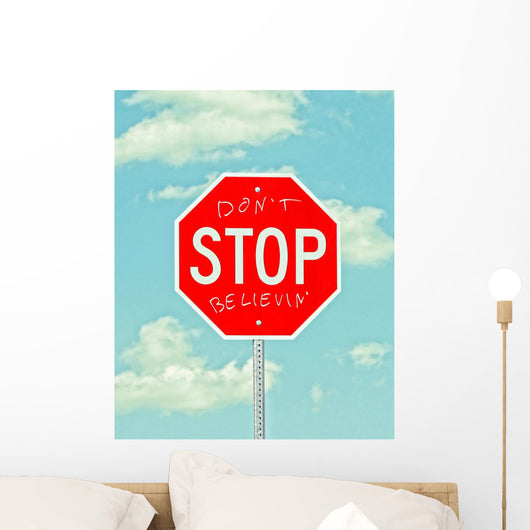 stop sign with graffiti Wall Mural