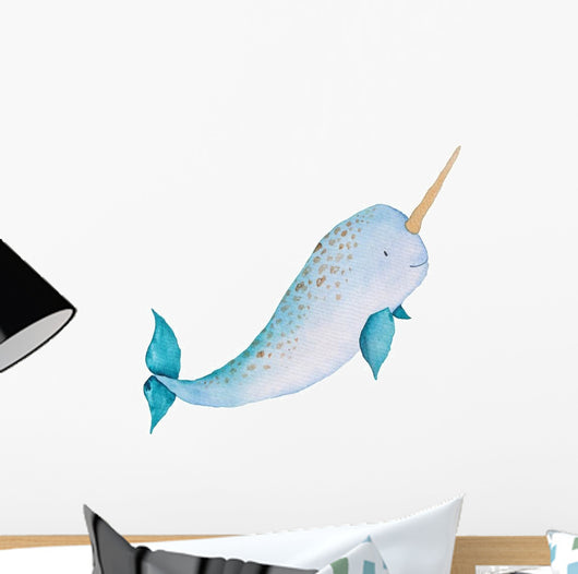 Whale Narwhal Watercolor Hand-painted Wall Decal