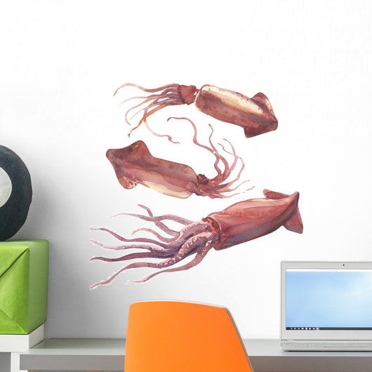 Watercolor Pink Squid Wall Decal Sticker Set