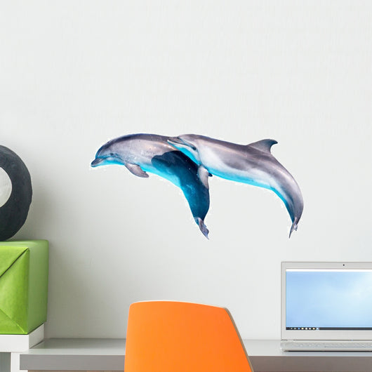 Two Jumping Dolphins Wall Decal