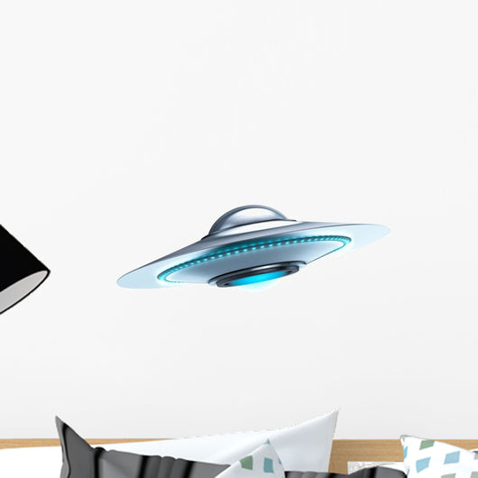 Glowing Flying Saucer Wall Decal