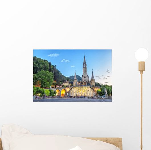 Rosary Basilica Evening Lourdes Wall Decal