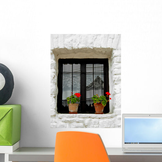 Tiny White Window Wall Mural