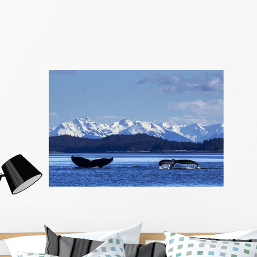 Pair Humpback Whale Tails Wall Mural