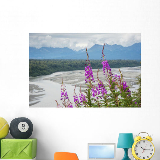 Fireweed with Alaskan Susitna Wall Mural