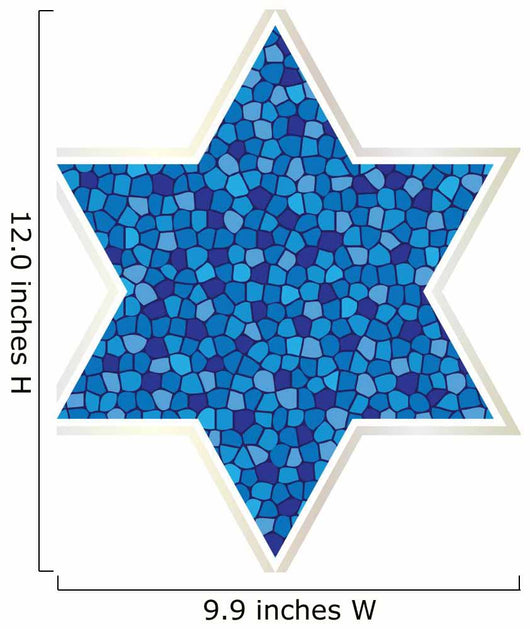 mosaic jewish star with silver frame Wall Decal