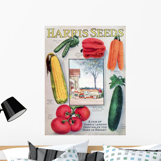 Historic Harris seeds catalog with illustration of vegetables Wall Mural