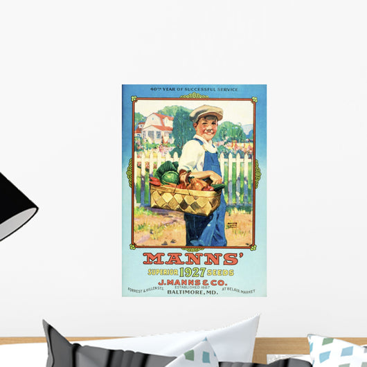 Mann's seed catalog with illustration of boy holding vegetables Wall Mural