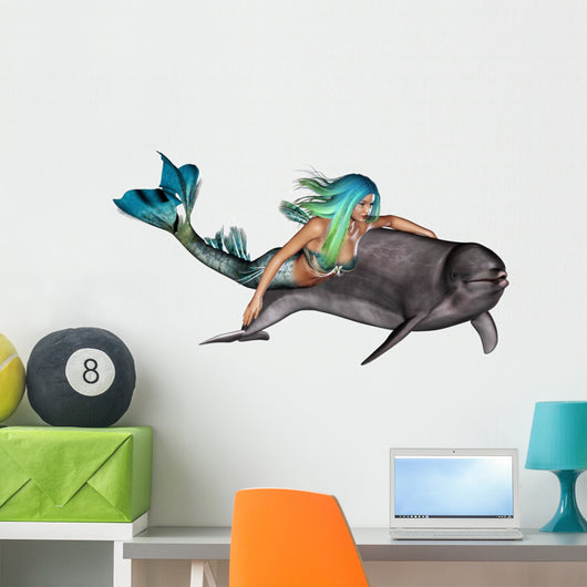 Mermaid with Dolphin Wall Decal