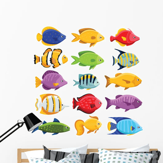 Colorful Coral Reef Tropical Wall Decal Sticker Set