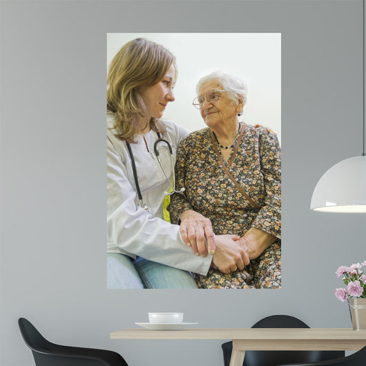 Old woman and yung doctor Wall Mural