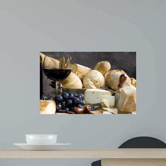 bread and cheese with a glass of wine 3 Wall Mural