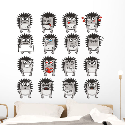Funny Hedgehogs Wall Decal Sticker Set