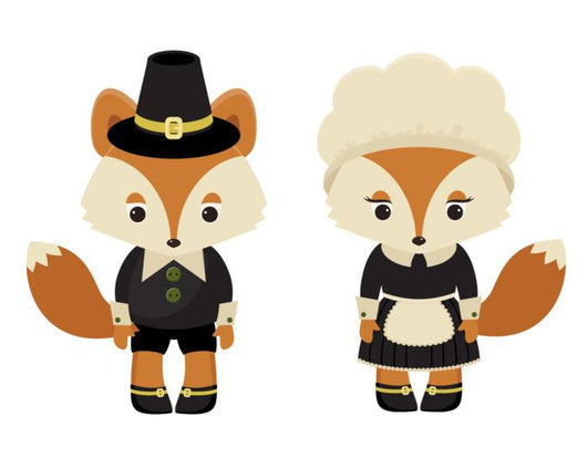 Two Pilgrim Foxes Wall Decal Sticker Set