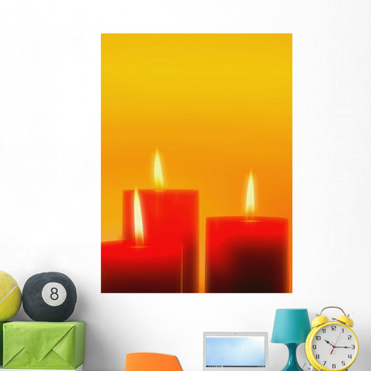 Lit Candles Wall Mural