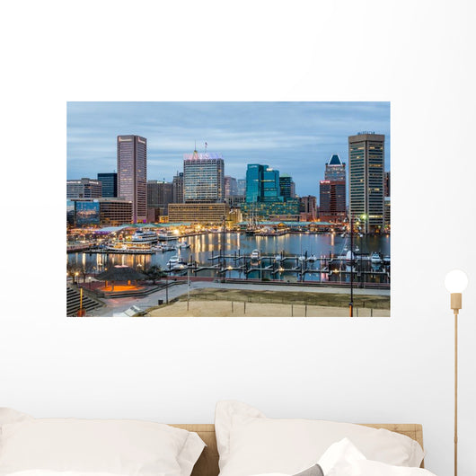 Waterfront Skyline Dusk Wall Decal