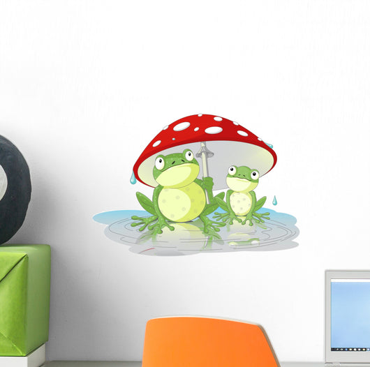 Two Frogs Wearing Rain Gear Under Mushroom Wall Decal