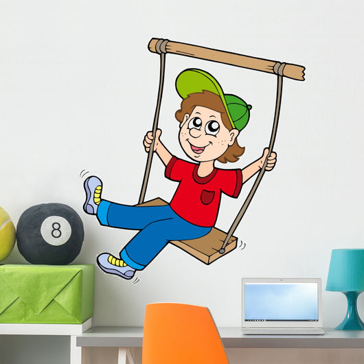 Boy on swing Wall Decal