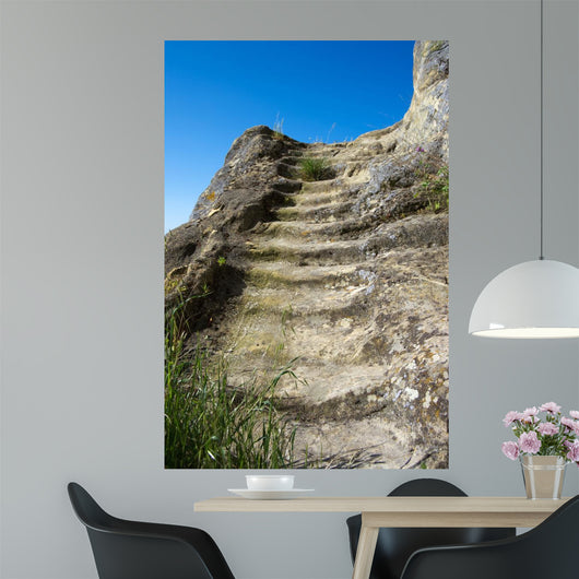 Steps carved in rock to reach the sky (stairway to Heaven Wall Mural
