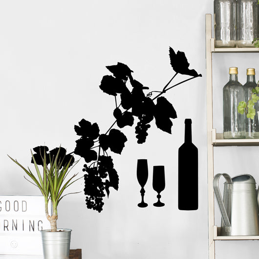 Grapes Wine and Glass Wall Decal
