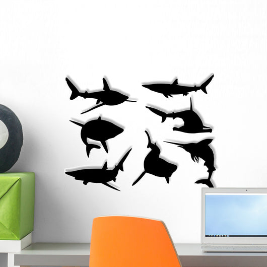 Squali Silhouette Wall Decal Sticker Set Wall Decal