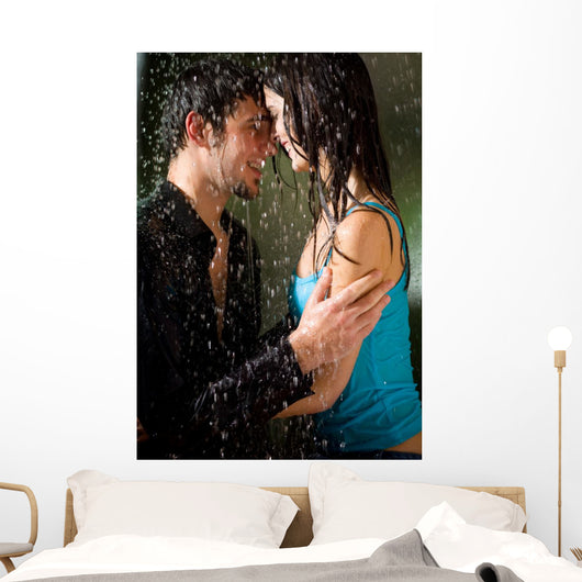 Young Amorous Couple Embracing Wall Decal