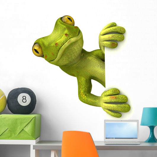 Gecko with White Sign Wall Decal