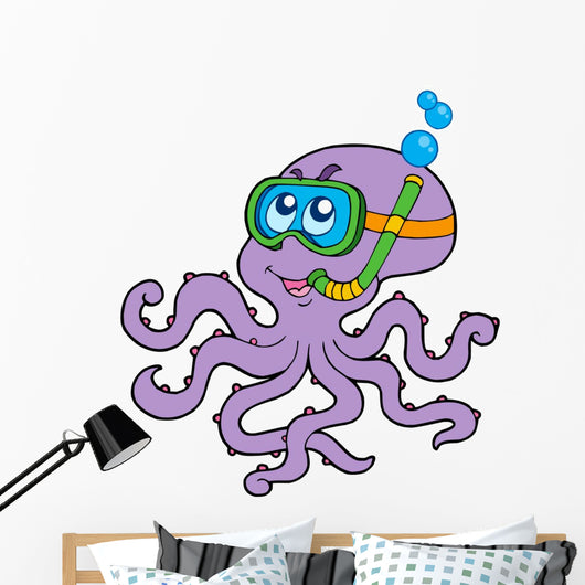 Octopus Snorkel Diver Wall Decal