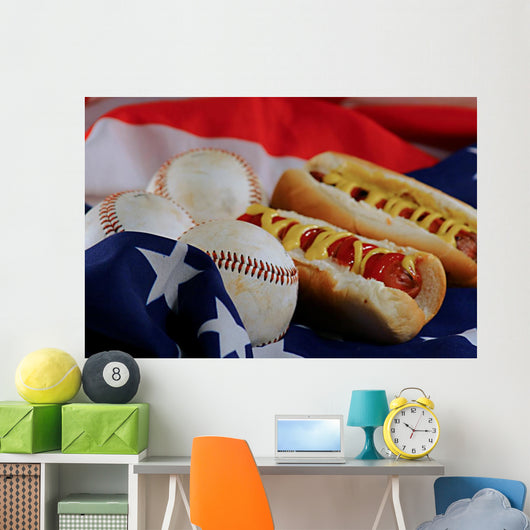 Hotdogs Baseballs American Flag Wall Decal