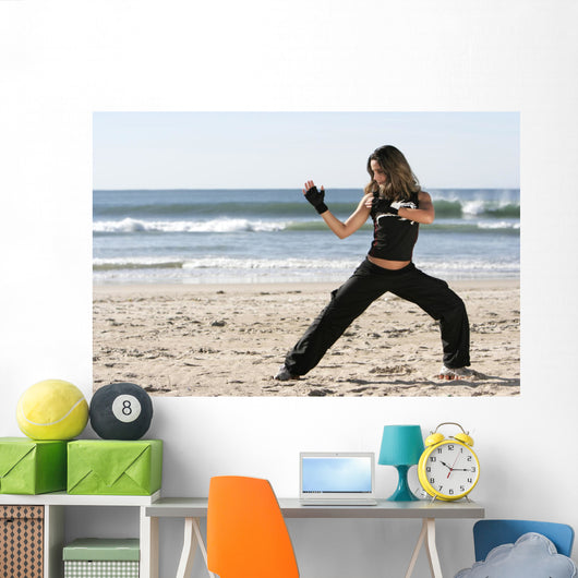 Girl Fighting Wall Decal