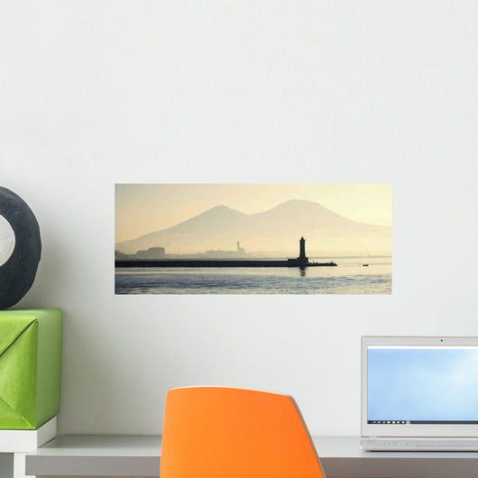 Lighthouse with Mount Vesuvius Wall Decal