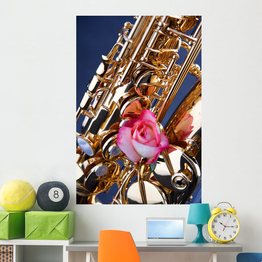 Gold Saxophone and Pink Rose on Blue Wall Mural