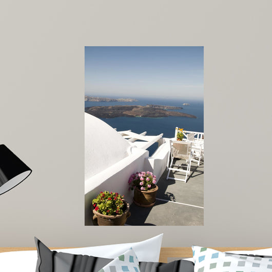 View of Volcano and Aegean Sea Wall Mural