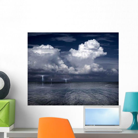 Lightning Storm Sea Wall Decal
