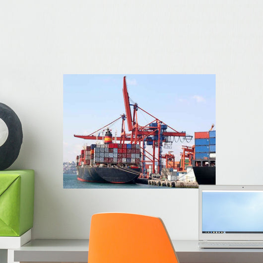 Fully Loaded Container Ship Wall Decal