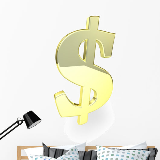 Golden Dollar Sign Wall Decal