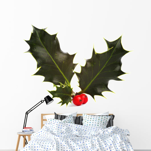Holly and Red Berries Wall Decal