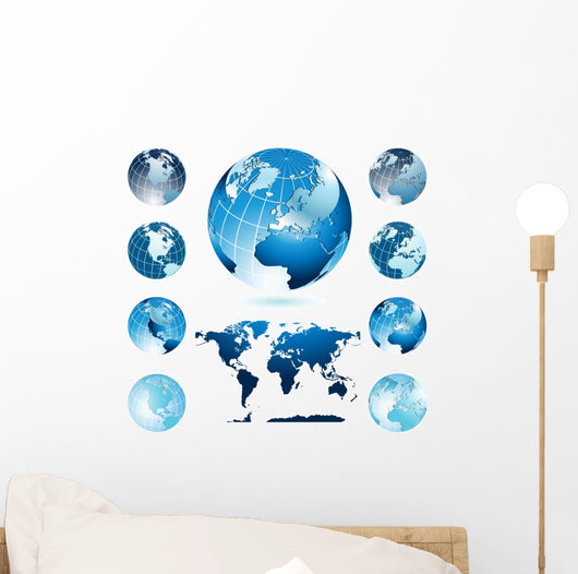 Globes with World Map Wall Decal