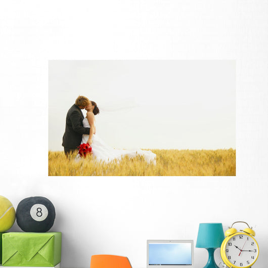 Bride And Groom Kiss Wall Mural