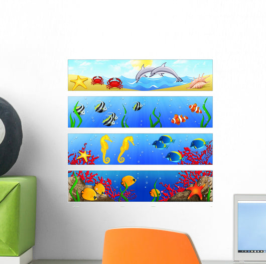 Ocean Banners with Tropical Wall Decal