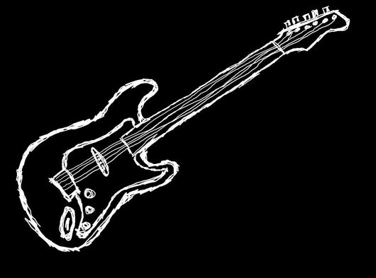Negative Guitar Illustration Wall Decal