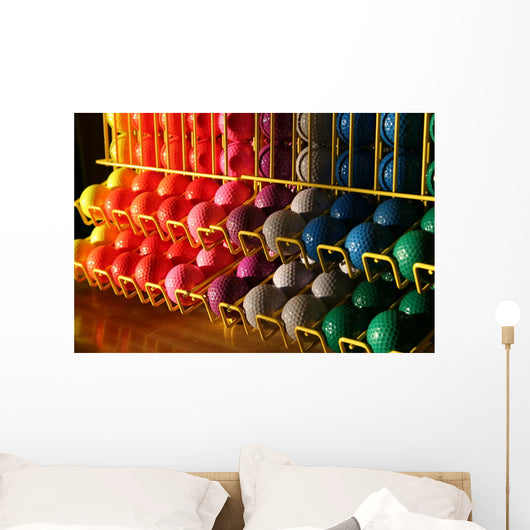 Miniature Golf Balls in a Rack Wall Mural