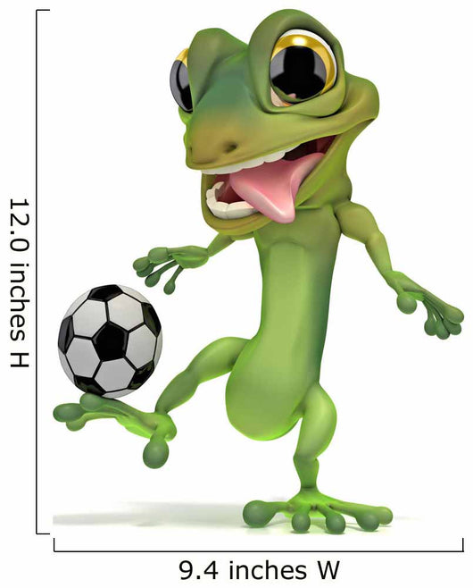 Gecko Kicking Soccer Ball Wall Decal