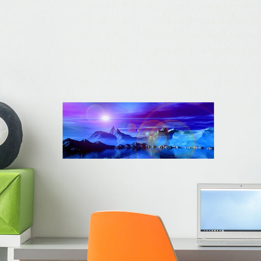 Glowing Sci-fi Mountain Landscape Wall Decal Panoramic